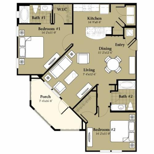 2 Bdrm Floor Plan | Pet Friendly Apartments Orlando | Sanctuary at Eagle Creek
