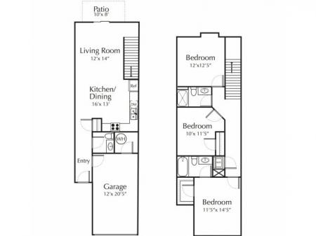 Three bedroom with basement