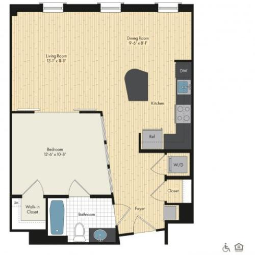 Floor Plan 2 | Apartments For Rent In Bethesda Maryland | Upstairs at Bethesda Row