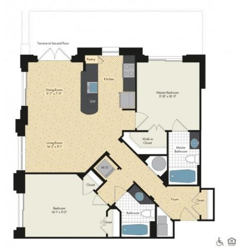 Floor Plan 36 | Luxury Apartments In Bethesda Maryland | Upstairs at Bethesda Row