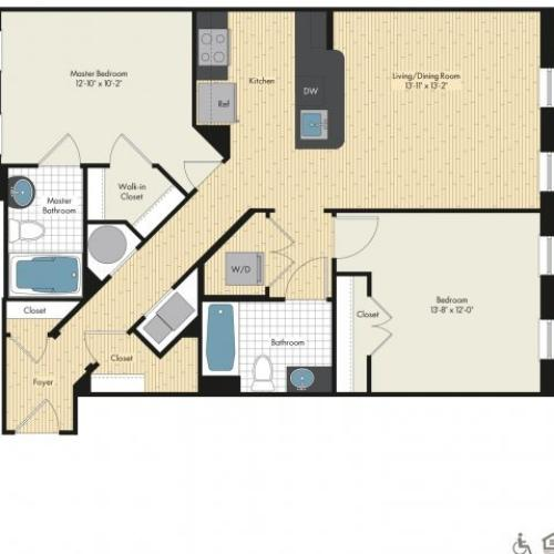 Floor Plan 37 | Apartments For Rent In Bethesda Maryland | Upstairs at Bethesda Row