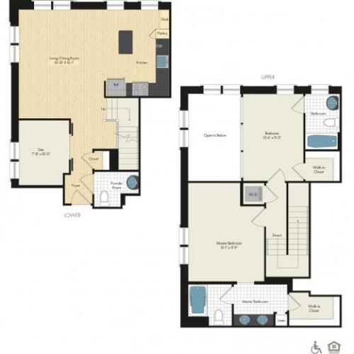 Floor Plan 30 | Luxury Apartments In Bethesda | Upstairs at Bethesda Row