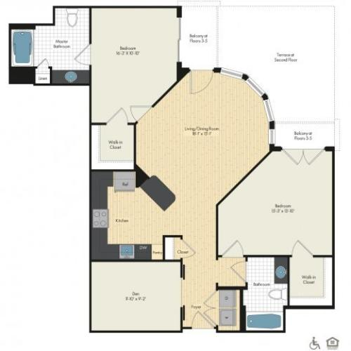 Floor Plan 31 | Luxury Apartments In Bethesda Maryland | Upstairs at Bethesda Row