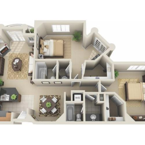 Two Bedroom Floor Plan 6 | Apartments In Los Angeles | The Preston Miracle Mile