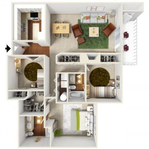 Two Bedroom Floorplan | Landmark 7