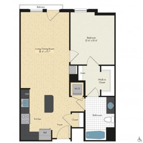 Floor Plan 9 | Bethesda Luxury Apartments | Upstairs at Bethesda Row