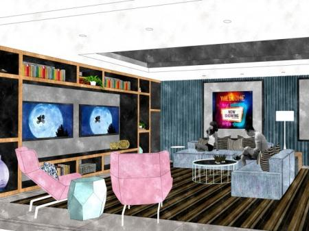 Residents Watching a Movie in Media Room | North Bethesda Luxury Apartments | The Henri