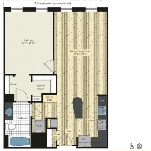 Floor Plan 3 | Luxury Apartments In Bethesda MD | Upstairs at Bethesda Row