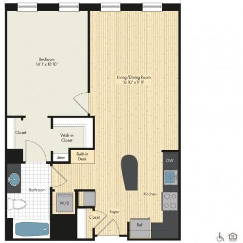Floor Plan 13 | Luxury Apartments In Bethesda MD | Upstairs at Bethesda Row