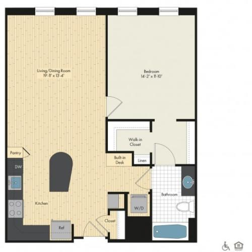 Floor Plan 16 | Luxury Apartments In Bethesda Maryland | Upstairs at Bethesda Row