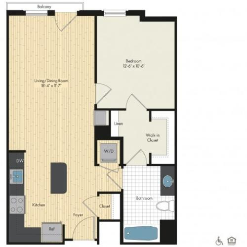 Floor Plan 19 | Bethesda Luxury Apartments | Upstairs at Bethesda Row