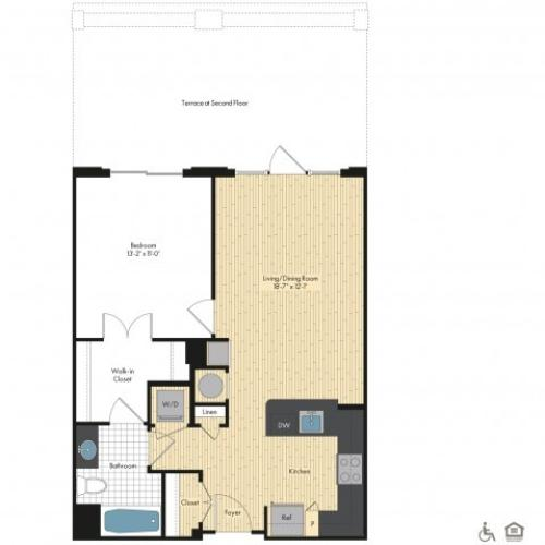 Floor Plan 25 | Luxury Apartments In Bethesda | Upstairs at Bethesda Row
