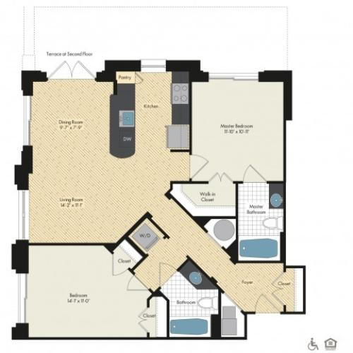 Floor Plan 44 | Bethesda Luxury Apartments | Upstairs at Bethesda Row