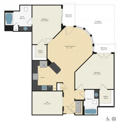 Floor Plan 43 | Luxury Apartments In Bethesda MD | Upstairs at Bethesda Row