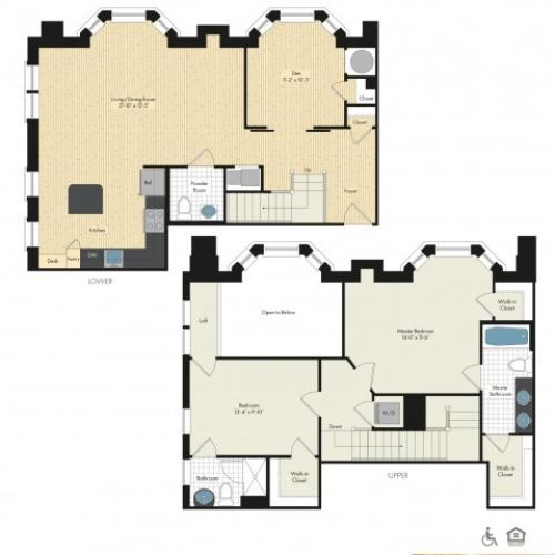 Floor Plan 48 | Luxury Apartments In Bethesda MD | Upstairs at Bethesda Row
