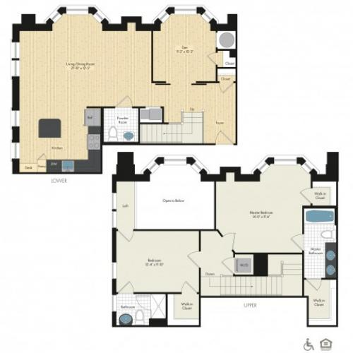 Floor Plan 49 | Luxury Apartments In Bethesda MD | Upstairs at Bethesda Row