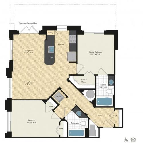Floor Plan 50 | Luxury Apartments In Bethesda MD | Upstairs at Bethesda Row