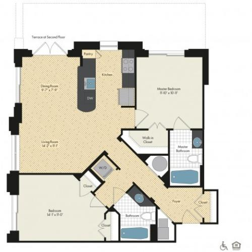 Floor Plan 52 | Luxury Apartments In Bethesda MD | Upstairs at Bethesda Row