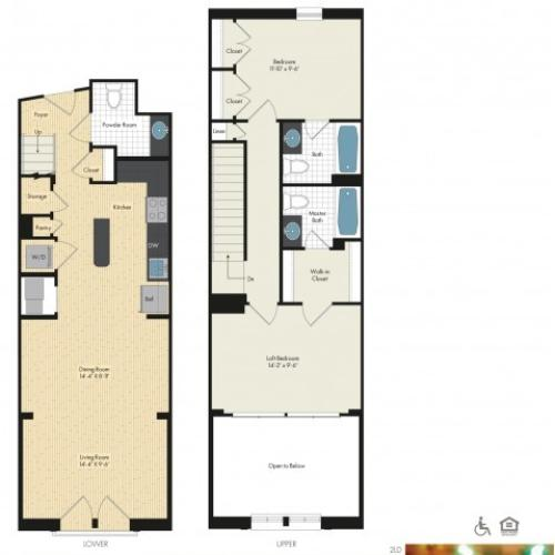 Floor Plan 55 | Luxury Apartments In Bethesda MD | Upstairs at Bethesda Row