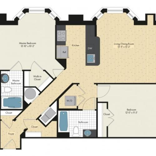 Floor Plan 56 | Luxury Apartments In Bethesda MD | Upstairs at Bethesda Row