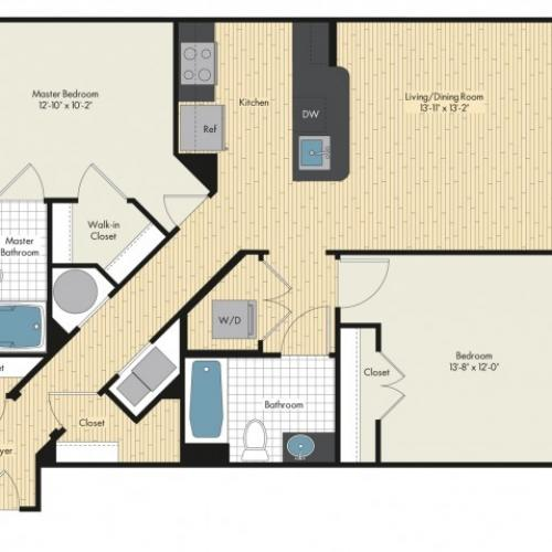 Floor Plan 51 | Luxury Apartments In Bethesda MD | Upstairs at Bethesda Row
