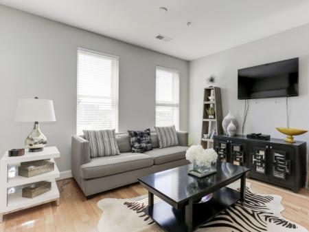 Spacious Living Room   Luxury Apartments In Bethesda Maryland   Upstairs at Bethesda Row