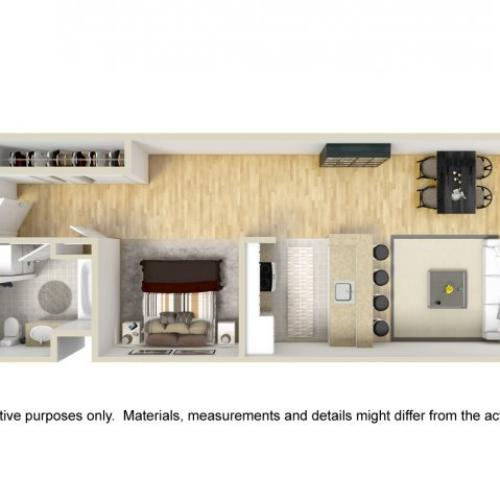 1 Bedroom Floor Plan | Museum Place 2