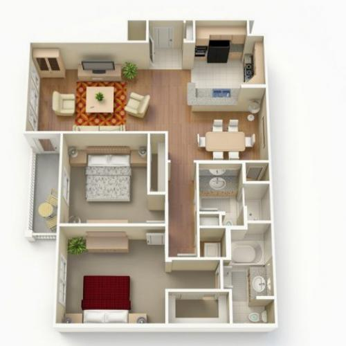 2 Bedroom Floor Plan | San Paloma