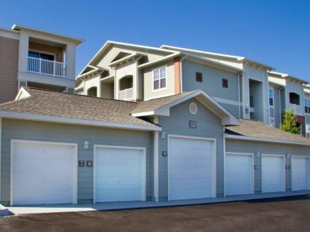 Detached personal garages at Town Center at Lakeside Village Apartments