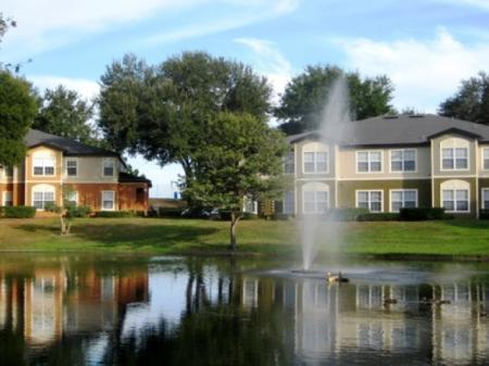 Lake views with fountains available