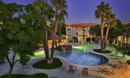 Swimming Pool at Night | Luxury Apartments Tempe | The Palms on Scottsdale
