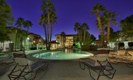 Lounging by the Pool | One Bedroom Apartments In Tempe | The Palms on Scottsdale