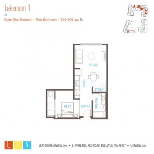 Floor Plan 4 | Apartments Bellevue WA | LIV