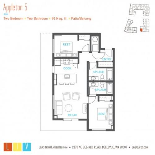 Floor Plan 34 | Apartments Bellevue WA | LIV