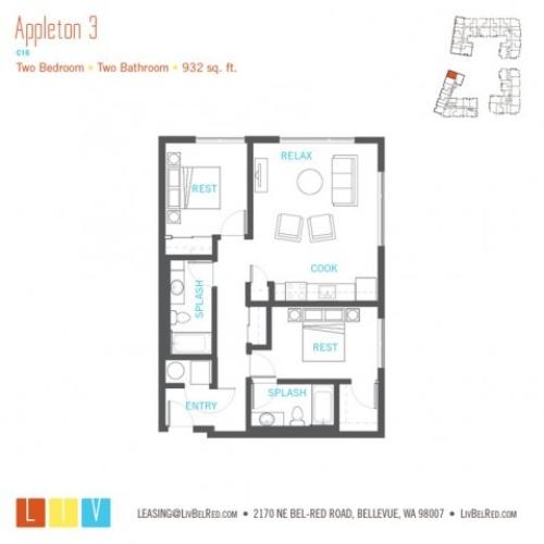 Floor Plan 36 | Apartments For Rent In Bellevue Washington | LIV