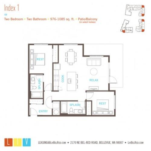 Floor Plan 37 | Bellevue Apartments | LIV