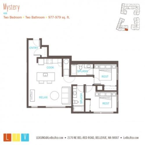Floor Plan 38 | Bellevue WA Apartments | LIV