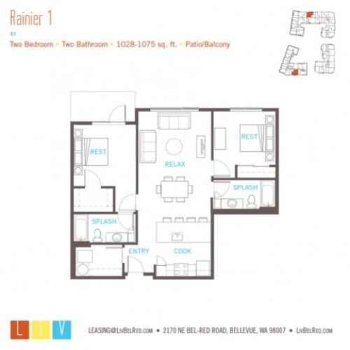 Floor Plan 40 | Bellevue Washington Apartments | LIV