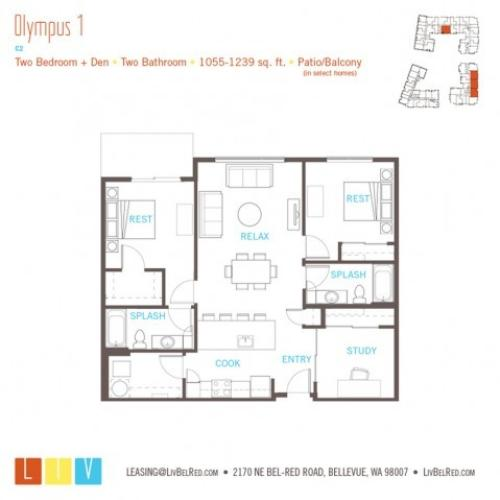 Floor Plan 42 | Bellevue Apartments | LIV