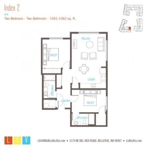 Floor Plan 43 | Bellevue WA Apartments | LIV