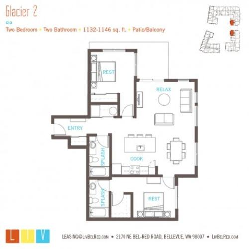 Floor Plan 45 | Bellevue Washington Apartments | LIV