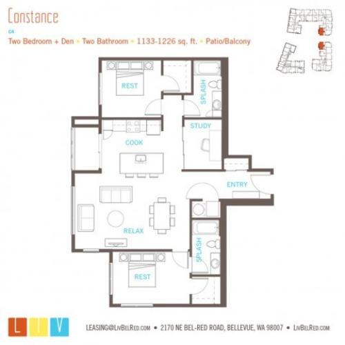 Floor Plan 46 | Apartments For Rent In Bellevue Washington | LIV