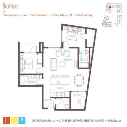 Floor Plan 48 | Bellevue WA Apartments | LIV