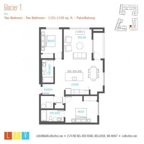 Floor Plan 49 | Bellevue WA Apartments | LIV