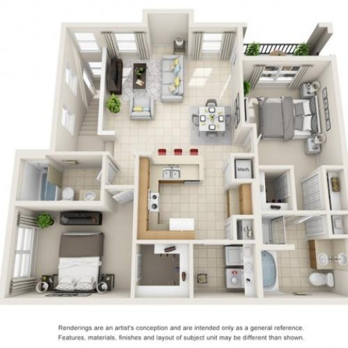 Two Bedroom Floor Plans 1   Apartments For Rent In Rockledge FL   Polo Glen
