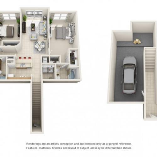Two Bedroom Floor Plans 4 | Apartments For Rent In Rockledge FL | Polo Glen