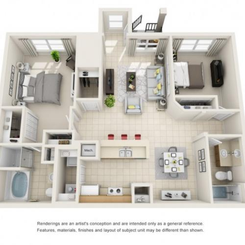 Two Bedroom Floor Plans 5   Apartments For Rent In Rockledge FL   Polo Glen