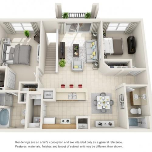 Two Bedroom Floor Plans 6 | Apartments For Rent In Rockledge FL | Polo Glen