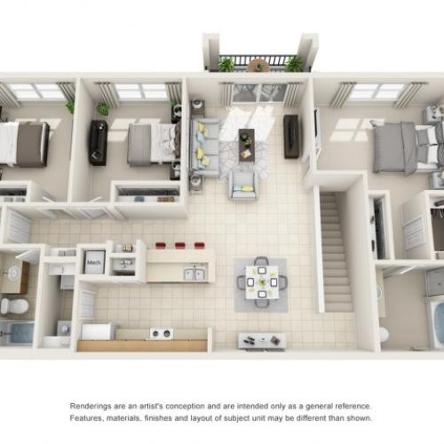 Three Bedroom Floor Plans 4   Apartments For Rent In Rockledge FL   Polo Glen