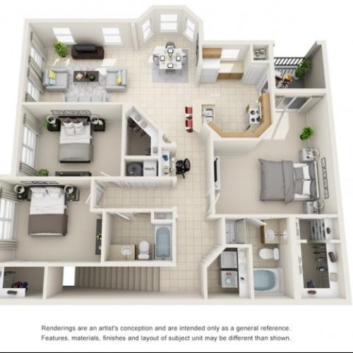 Three Bedroom Floor Plans 1   Apartments For Rent In Rockledge FL   Polo Glen